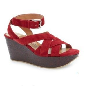 Nina Vision Red Women's Wedge Sandals